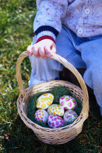 Boy Holding Basket of Easter Eggs