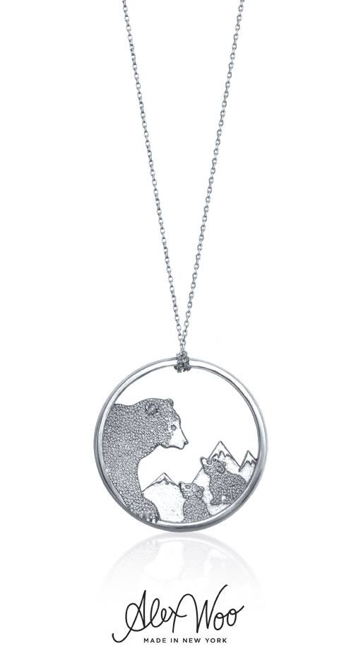 Bear silver necklace
