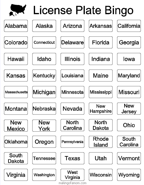Free Printable for license plate bingo for the us