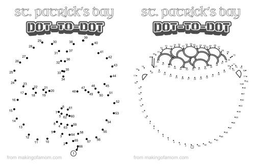 Free St. Patrick's Day dot to dots