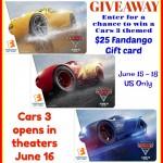 Cars 3 $25 Fandango Gift Card Giveaway