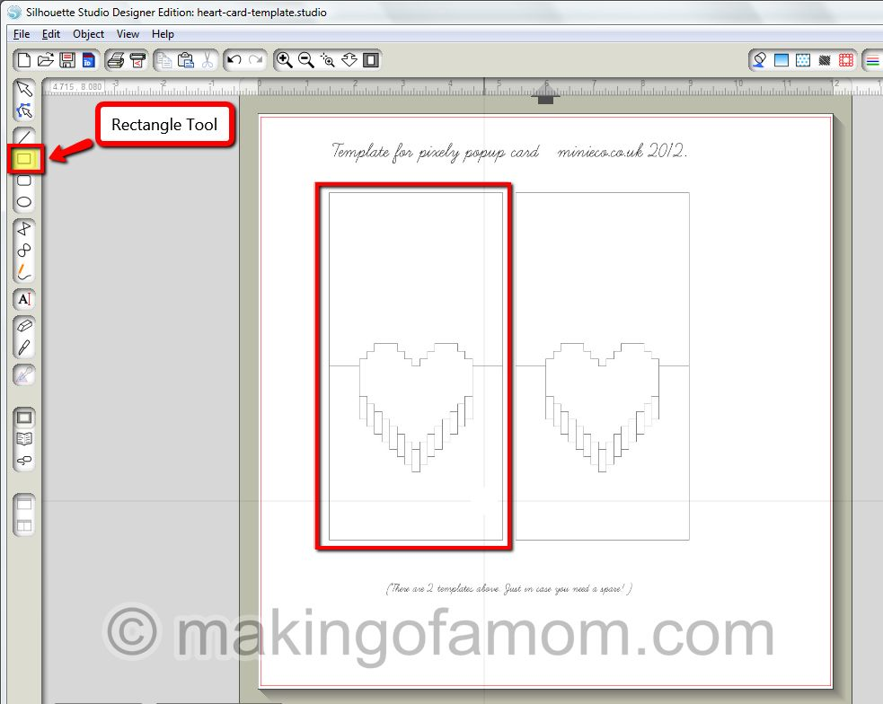 Silhouette tutorial valentine pixelated popup heart card how to create a pixelated heart pop up valentines days makingofamom maxwellsz