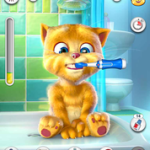 ginger brushing teeth