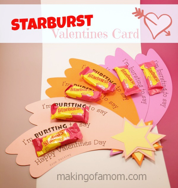 photograph regarding Starburst Valentine Printable called Starburst Valentines Working day Card