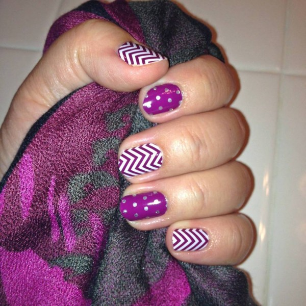boysenberry chevron and icy boys. polka