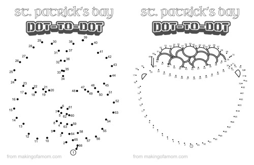 Free St. Patrick's Day dot to dots