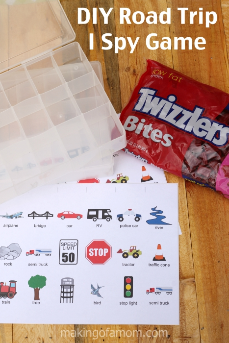 Get a step-by-step tutorial for recreating this DIY Road Trip I Spy game. With a free printable you can easily create this travel game. #TwizzlersSummer #ad