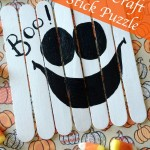 Ghost Puzzle made from craft sticks. Easy #Halloween craft idea.