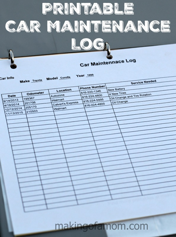 Lively image with regard to car maintenance log printable