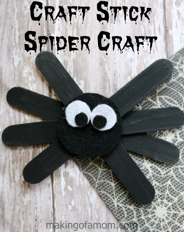Craft stick spider craft making of a mom for Good arts and crafts