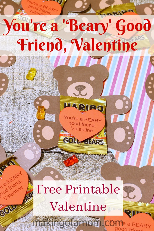 image regarding Printable Kids Valentines Cards named Children Valentines Playing cards Youre a Beary Positive Close friend - Generating of