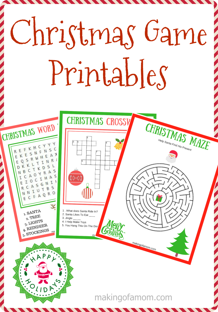 image relating to Free Printable Christmas Games for Adults called Free of charge Printable Xmas Video games - Manufacturing of a Mother
